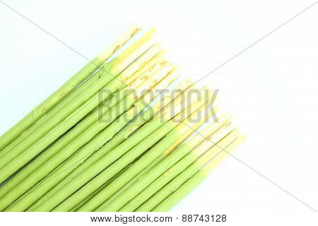 Biscuit stick coated  with green tea