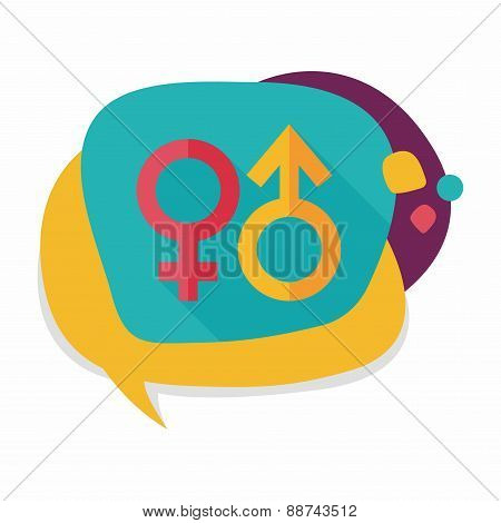 Gender Symbol Flat Icon With Long Shadow, stylish colors of vector illustration.