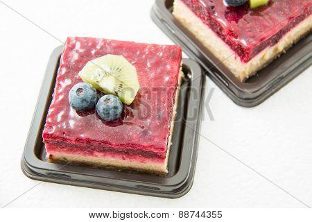 Raspberry Cheese Cake  On White  Background