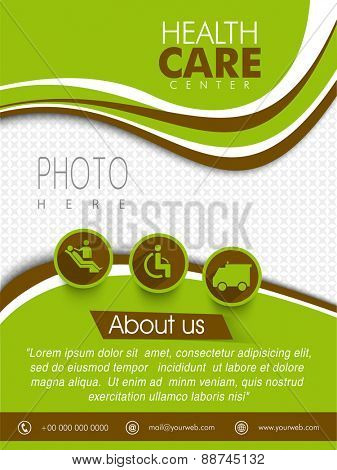 Health Care Center template, brochure or flyer design with place holder for your photo and medical symbols.