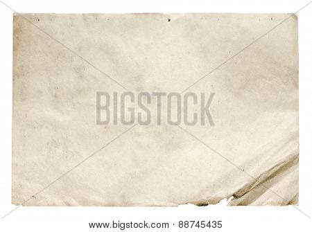 old paper isolated on white background with clipping path
