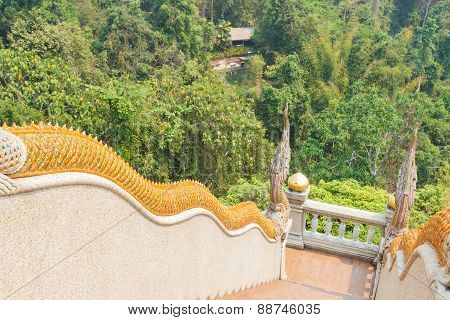 Naga Statue Decorating On Bannister Of Stairway