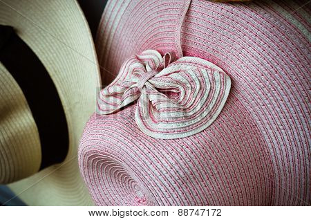 Close up of pink vintage hat