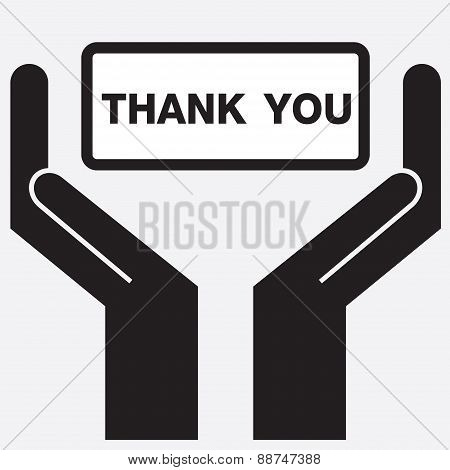 Hand showing thank you message.