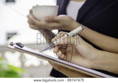 businesswoman taking a break