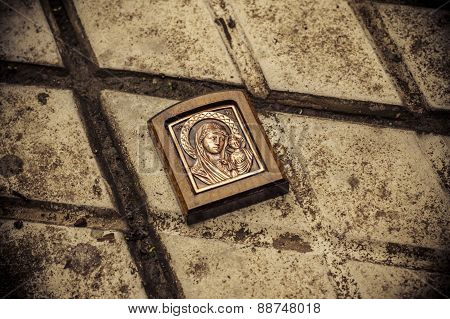 Orthodox icon on the ground