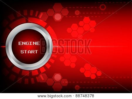 Abstrack Button Engine Start Technology On Red Background