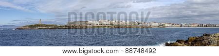 Panoramic Coastal City Of A Coruna In Galicia