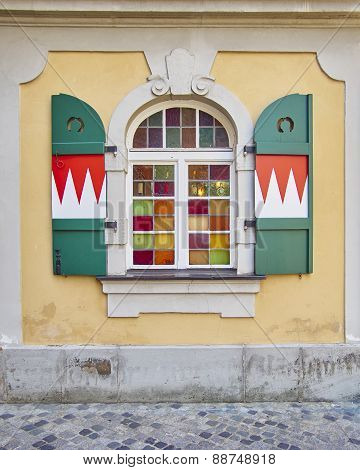 colorful arched window, Bamberg Germany