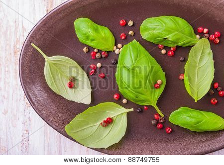 Colorful Peppercorns And Basil Leaves