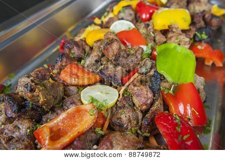 Beef Tandoori Kebab Meat At An Indian Restaurant Buffet
