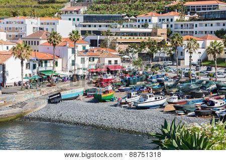 Harbor With  Fishing Ships At Camara De Lobos, Madeira Island