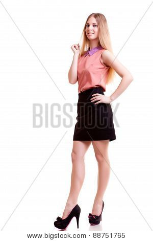 Young Smiling Businesswoman Full Body