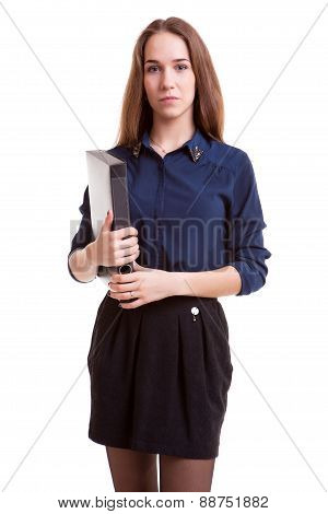 Teenager studend smling with folder in hand
