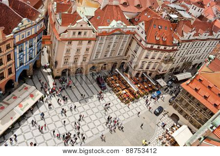 Top View Of Old Town Square In Prague