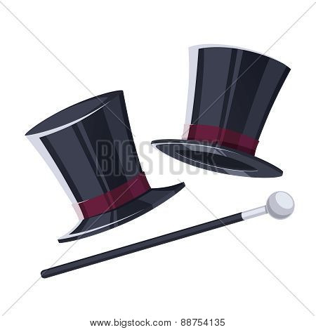 Top hat with a cane.