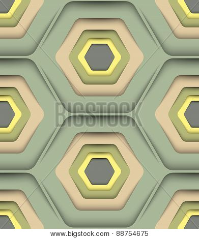Honeycomb Fall Colors, Vector Seamless Pattern.