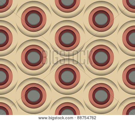 3D Circles, Vector Seamless Pattern.