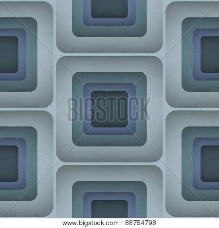 3D Squares, Vector Seamless Pattern.