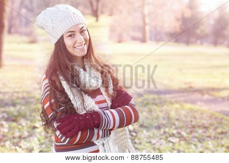 Beautiful Happy Smiling Girl Outdoor