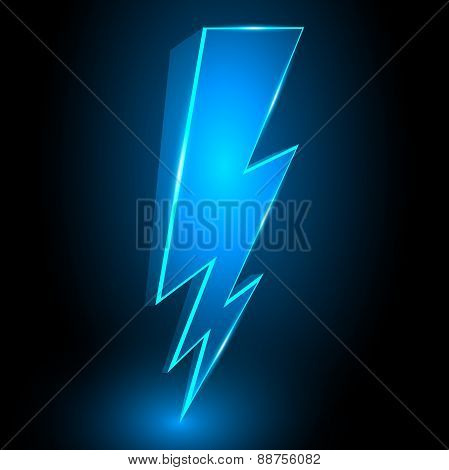 3D Sparkling Lightning Bolt Abstract Vector Background Illustrat