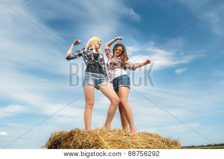 Friends on country vacations dancing on farm straw bale