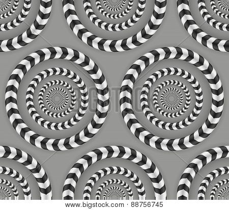 Rotating Circles, Optical Illusion, Vector Seamless Pattern.