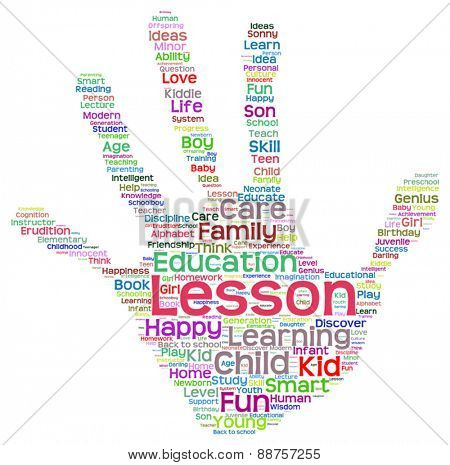 Vector concept or conceptual child education abstract hand print word cloud