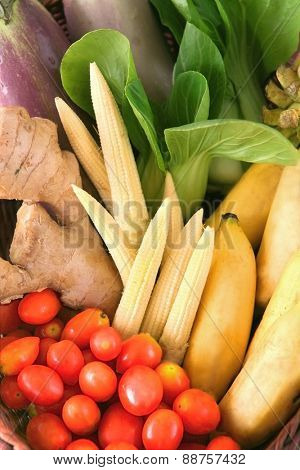 Basket of fruit and vegetables.