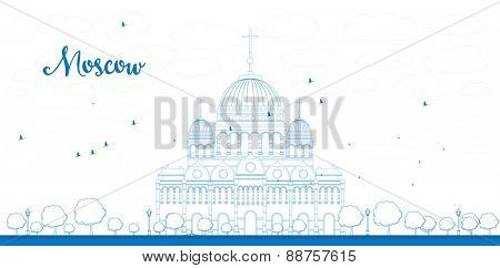 Outline Cathedral of Christ the Saviour in blue color Moscow. Vector illustration