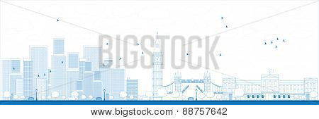 Outline London skyline with skyscrapers Vector illustration
