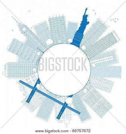 Outline New York city skyline Vector illustration