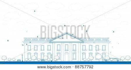 Outline White House Washington DC with Silhouette of man and car Vector Illustration