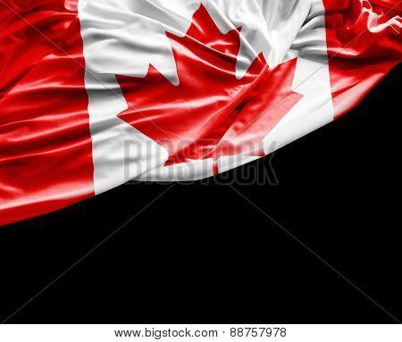 Canadian waving flag on black background