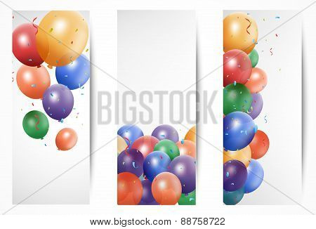Colorful Birthday Balloon on white Banner