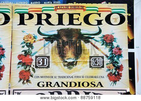 Bullfighting poster, Priego de Cordoba.