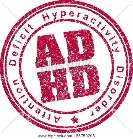 Adhd (attention Deficit Hyperactivity Disorder) Rubber Stamp.