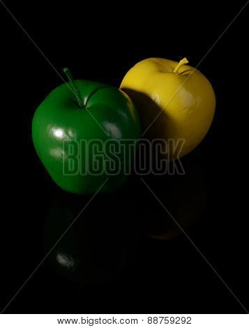 Yellow Apple And Green Apple.