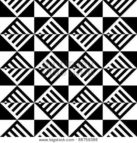 Abstract Black And White Illusion Vector Seamless Pattern. Line