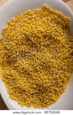 Millet Groats In White Bowl