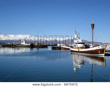 Boats In Arctic Ocean Harbour