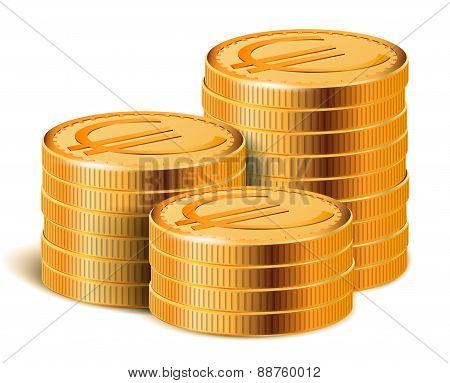 Euro Golden Coins Stacks, Vector Illustration.