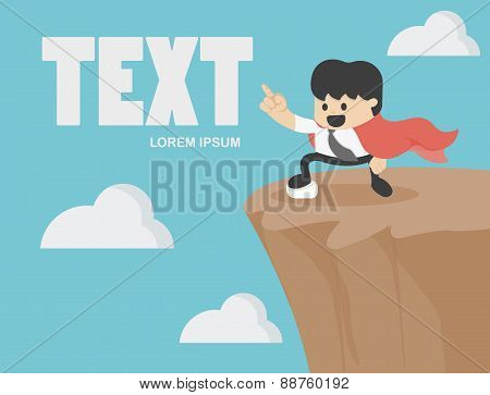 Businessman Pointing To Success On The Cliff