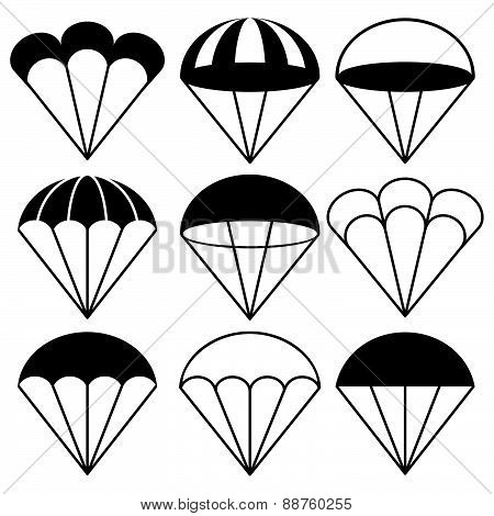 Parachute Icons Set, Vector Illustration