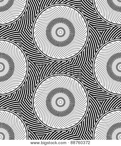 Striped Circles Geometric Optical Black And White Vector Seamles