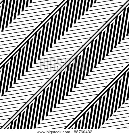 Herringbone Style Geometric Optical Black And White Vector Seaml