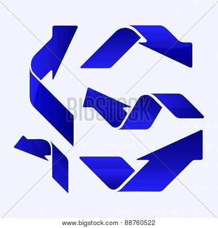 Set Of Five Blues Vector Arrows.