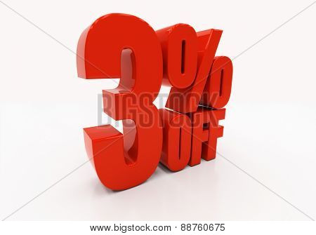 3 percent off. Discount 3. 3D illustration