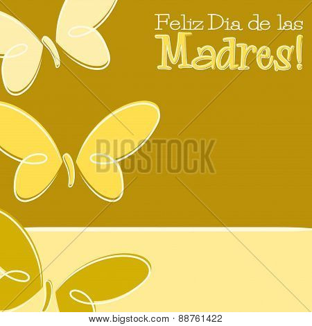 Hand Drawn Spanish Happy Mother's Day Card In Vector Format.