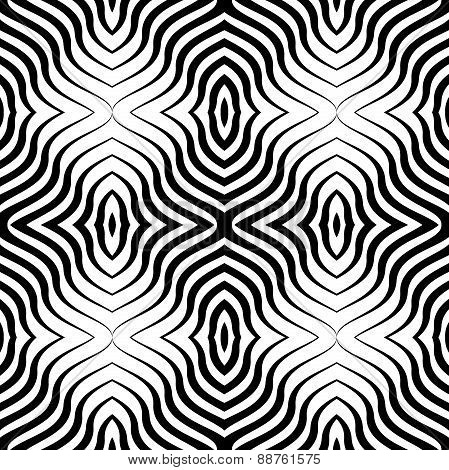 Op Art  Black White Vector Seamless Geometric Pattern. Lines Onl